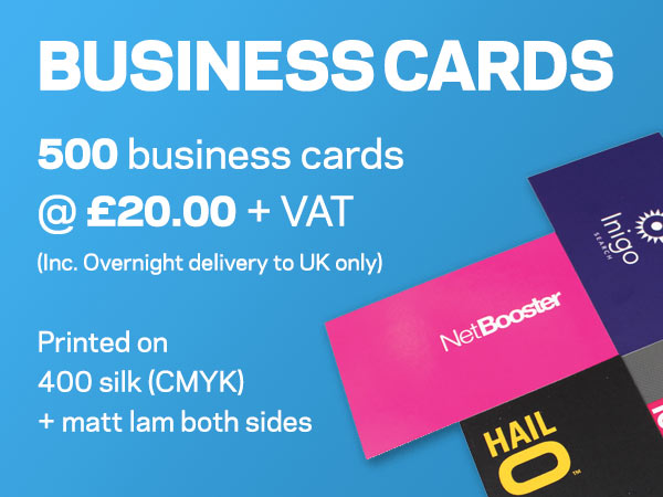 BUSINESS CARDS | 500 business cards @ £20.00 + VAT (Inc. Overnight delivery to UK only) | Printed on 400 silk (CMYK) + matt lam both sides