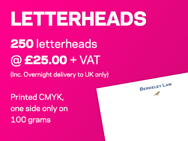 LETTERHEADS | 250 letterheads @ £25.00 + VAT (Inc. Overnight delivery to UK only) | Printed CMYK, one side only on 100 grams