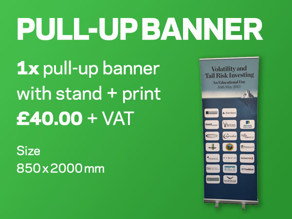 PULL-UP BANNERS | 1x pop-up banner with stand + print £40.00 + VAT | Size 850 x 2000 mm